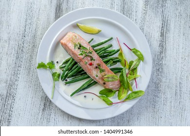Fish dish - rsteam cooked salmon and vegetables