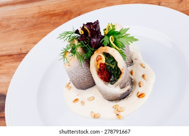 Fish dish/Rolls of Sea Bream/Fish,spinach,cheese,tomatoes