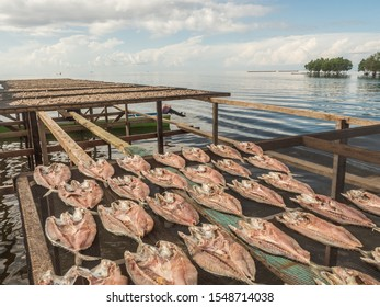 "The fish dries on specially prepared nets at the Seram Sea in Kaimana, fishing. ""Aktivitas menjemur ikan"". Kaimana, Bird's Head Peninsula, West Papua, Indonesia, Asia. - Shutterstock ID 1548714038"