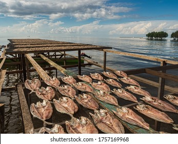 "The fish dries on specially prepared nets at the Seram Sea in Kaimana, fishing. ""Aktivitas menjemur ikan"". Kaimana, Bird's Head Peninsula, West Papua, Indonesia, Asia. - Shutterstock ID 1757169968"