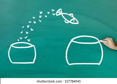 Fish escaping into bigger tank on green blackboard