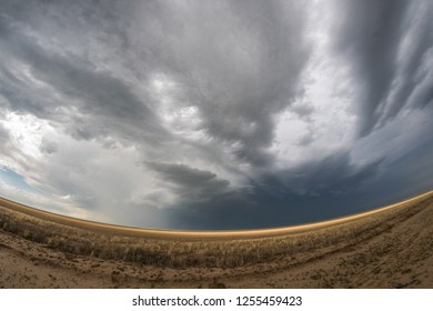 Fish eye lens view of a supercell thunderstorm at the border of the Oklahoma panhandle and northwest Texas