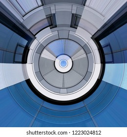 Fish eye photo of wall panels, windows and grid structures / louvers/ blinds. Abstract modern architecture fragments reflecting bright blue sky.