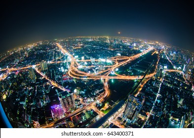 Fish eye view of city with night traffic intersection center, Transport city