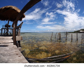 Fish eye view from a fishing village in the Moluccas islands, Indonesia
