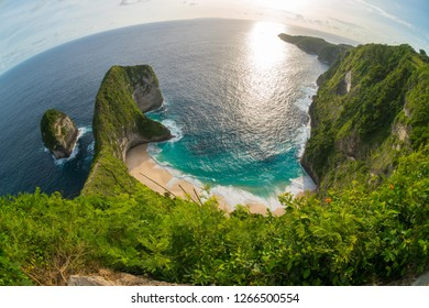 Fish eye view of Kelingking beach or Manta bay on Nusa Penida island, Bali, Indonesia