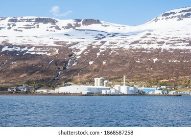 The fish factory in town of Eskifjordur in east Iceland