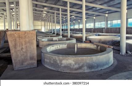 fish farm interior,empty fish tanks