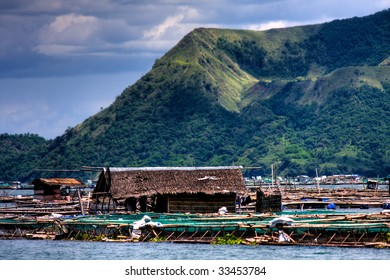Fish farms located at the base of Taal volcano.