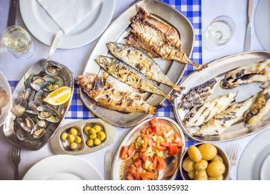 Fish feast: sea bass, golden, horse mackerel accompanied with tomato salad, clams, bread and white wine
