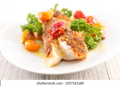 fish fillet and tomatoes