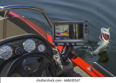 Fish finder. Fishing sonar (echolot) at the boat