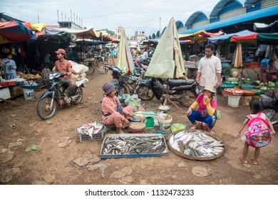 fish at the food market in the city of Preah Vihear city of Cambodia.  Cambodia, Kampong Thom, November, 2017,
