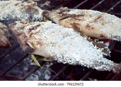 Fish grilled salt at street food
