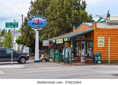 FISH HAVEN, IDAHO - JUNE 5, 2015: Gladys Place, a nice roadside cafe, deli and gift shop in Fish Haven, on the Oregon trail and Bear Lake Scenic Byway, is a stopover for travellers and locals as well.