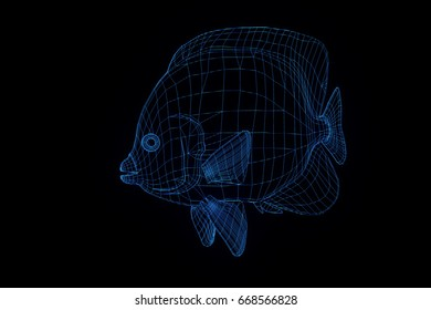 Fish in Hologram Wireframe Style. Nice 3D Rendering