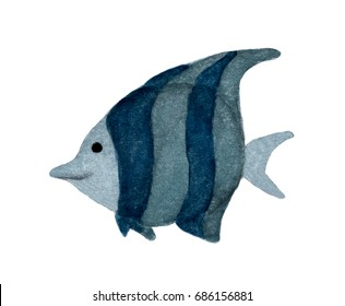 Fish isolated on white background, watercolor illustration