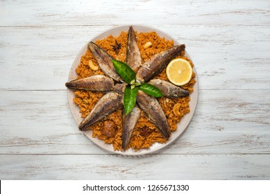 Fish Kabsa. Middle eastern food.