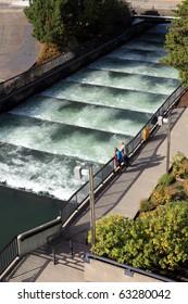 Fish ladders Bonneville Dam, Oregon.