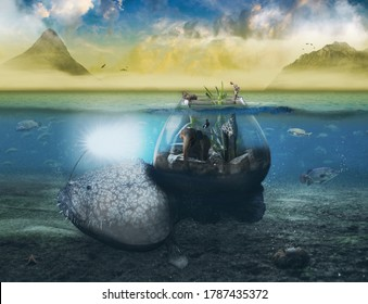a fish with a lamp drives the animals across the ocean, concept