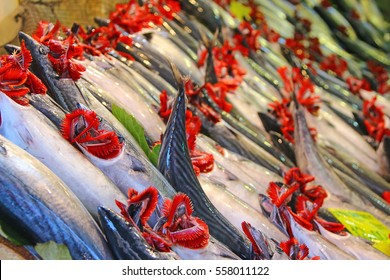 Fish in Market 1 - Gills exposed to reveal quality, health, and freshness. (Depth of Field - Focus of closest subjects).