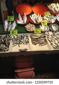 Fish in a fish market, fishmongers