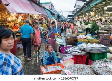 the fish market at the food Market at the Khlong Toey Market in Khlong Toey in the city of Bangkok in Thailand in Southeastasia.  Thailand, Bangkok, November, 2018