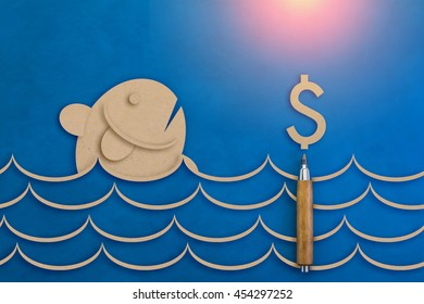 Paper chase images stock photos vectors shutterstock fish and money symbol paper cut on blue leather texture background business vision concept gumiabroncs Image collections