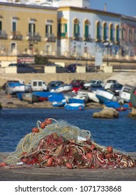 Fish net on a fishing port in South Italy in Gallipoli