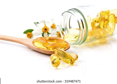 Fish Oil capsule on white background