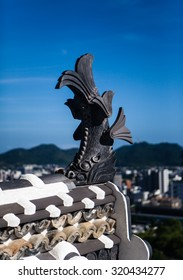 Fish on the gable of White Heron Castle in Himeji, Hyogo Prefecture, Honshu Island, Japan