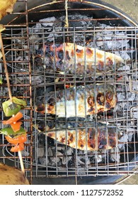 Fish on a hot barbecue