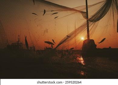 Fish on the net sunrise