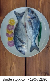 Fish on the plate. Dorado fish from the Mediterranean sea