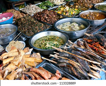 Fish and other Cambodian food at the Kandal Market in Phnom Penh.