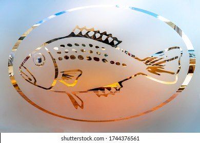 Fish picture on a sandblasted glass plate