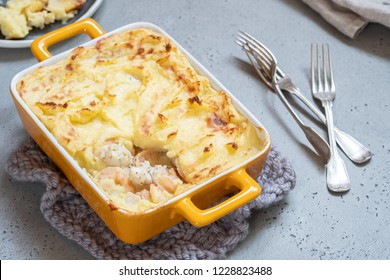 Fish pie with shrimp topped with mashed potato