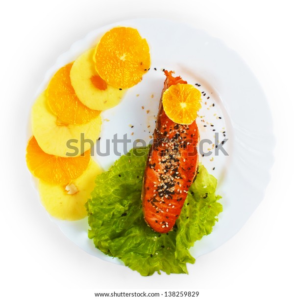 fish plate boiled salad isolated on white background