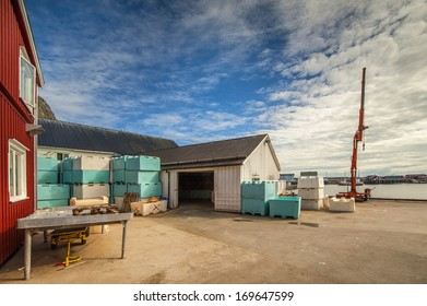 Fish processing building in Sakrisoy, Norway