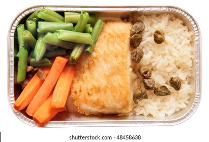 Fish and rice - inflight meal, isolated in white