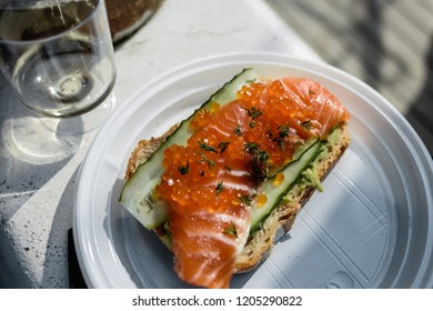 Fish sandwich with red caviar