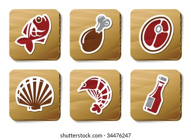 Fish, Seafoods and Meat icons. Three color icons on cardboard tags.