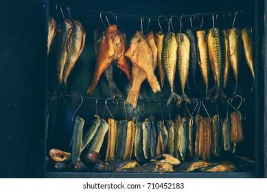 Fish Smoking Process, marine fish in smokehouse