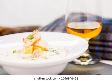 Fish soup Cullen skink with a glass of whisky