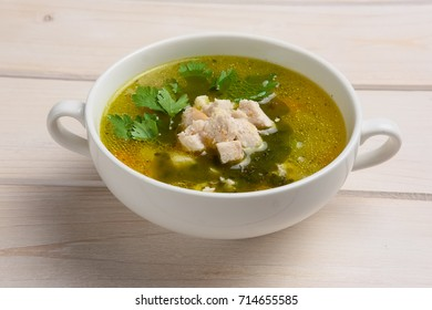 Fish soup. Top view.