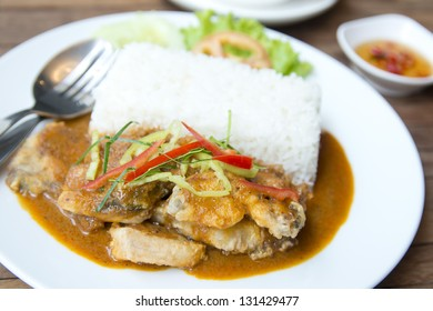 fish spicy red curry and stream rice, THAI FOOD