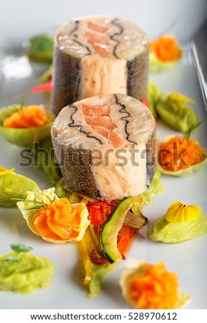 Fish Starter Food On White Plate Stock Photo Edit Now 528970612