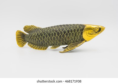 Fish statue on white background.