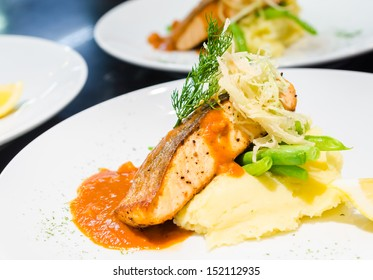 Fish steak with sauce