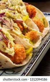 fish tacos closeup
